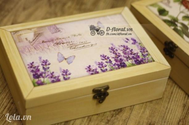 Hộp gỗ vintage Lavender