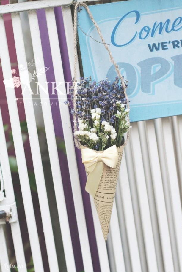 Phểu hoa lavender khô kết hợp salem trắng khô
