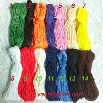 Sợi cotton Việt Nam tép nhỏ 10m nhiều màu W3-3 đan vòng/ móc len