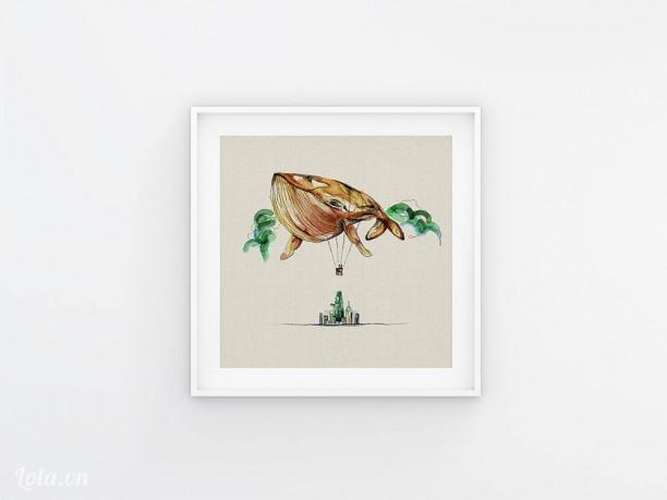 Tranh in vải hình Cá Voi trong thành phố - Whale on the city