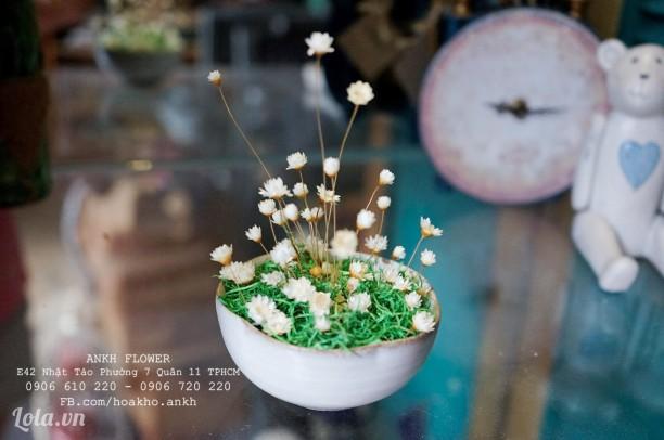 Lọ hoa sứ mini để bàn - hoa tuyết nhiệt đới (snowy)