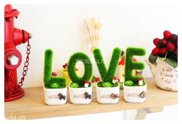 Bộ cây LOVE cỏ trang trí
