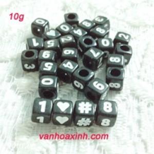 10g Hạt nhựa vuông đen 7mm vẽ số trắng HN167-10