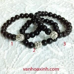 Vòng tay chuỗi đá đen 8mm trang trí tượng Phật VTD1-25