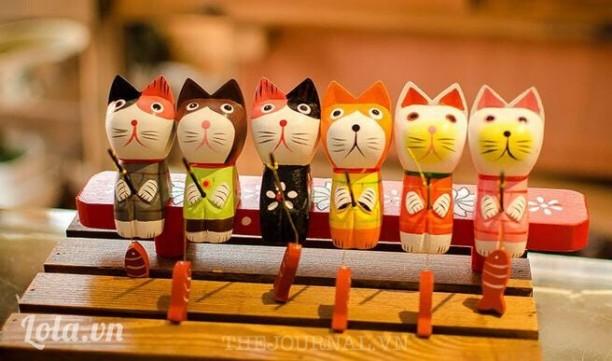 Bộ 6 mèo gỗ câu cá