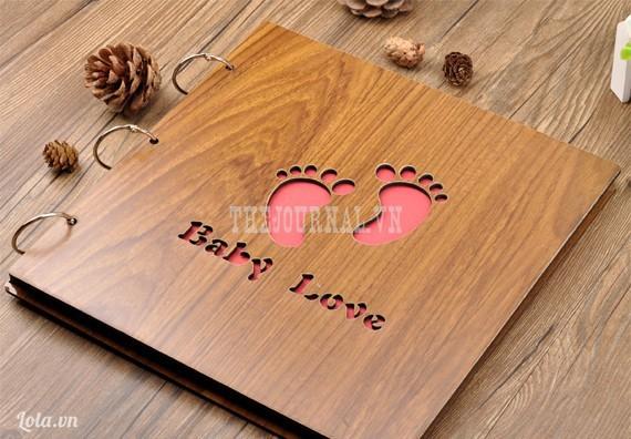 Album ảnh DIY bìa gỗ Baby Love