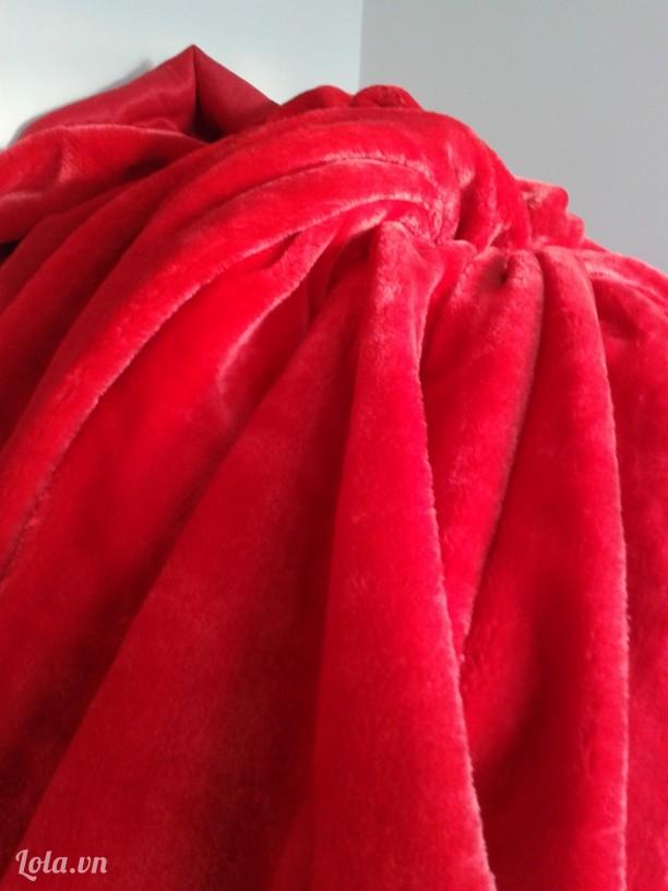 Vải lông thú màu đỏ cực mịn giá rẻ