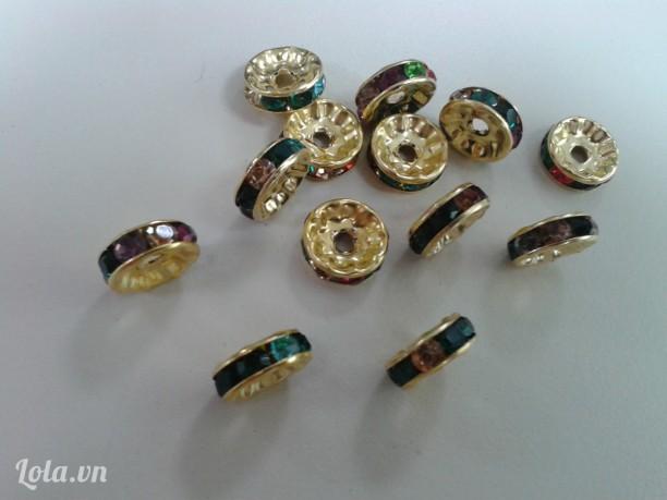 Vòng đệm,vòng charm đính đá trang trí màu bạc & đá đủ màu loại 10mm