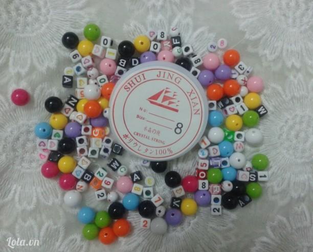 Bộ kit 10 kiểu hạt và 5m cước thun làm vòng handmade-100g