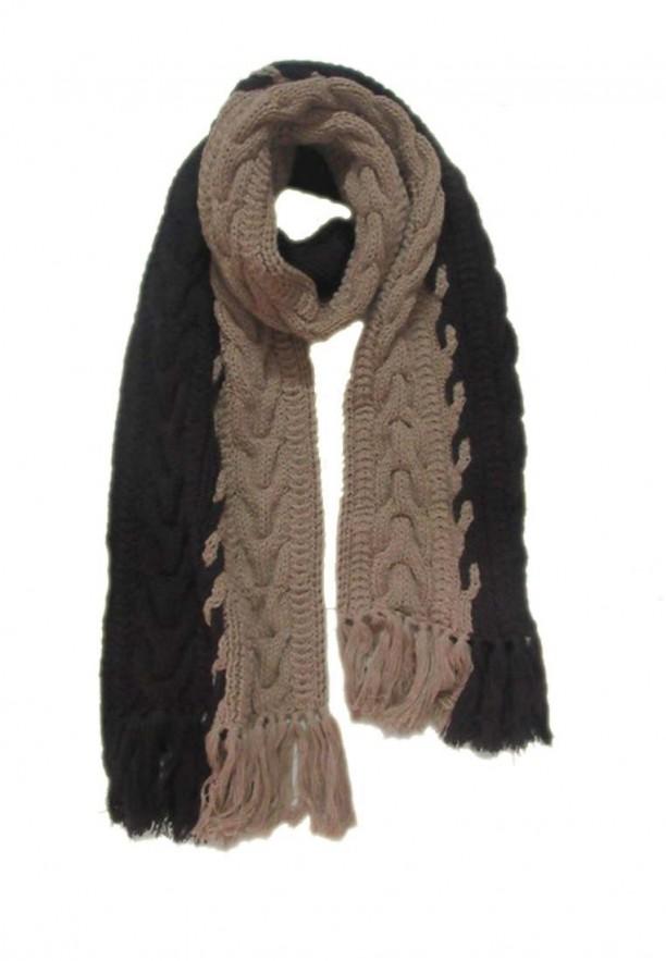 Khăn len đan tay 2 màu kem nâu