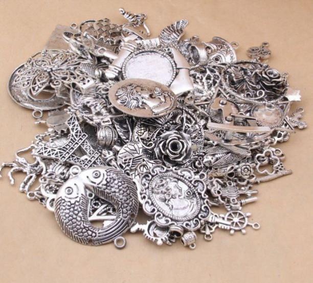 Mix13- mặt giá cổ  hỗn hợp màu bạc giá sĩ 1kg