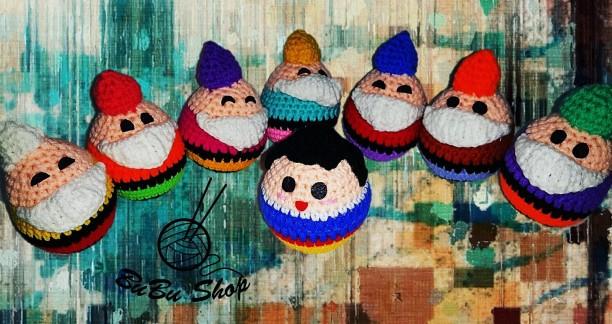 Bạch Tuyết và  7 chú Lùn Mini - Thú Len Handmade