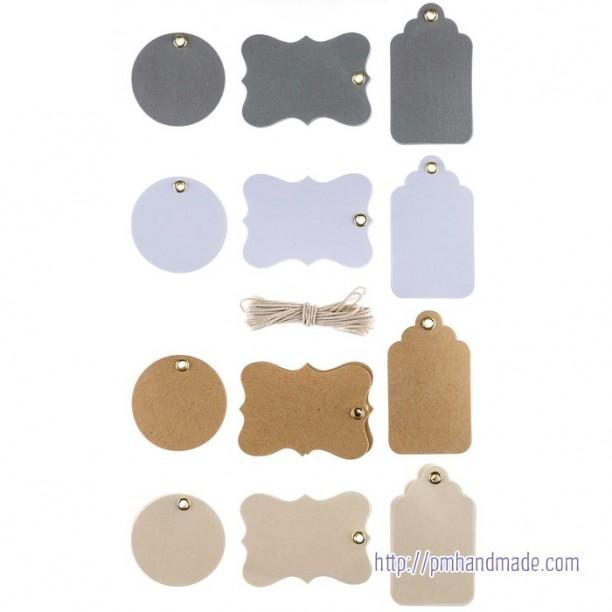 Gói tag trang trí màu metallic kèm dây cối