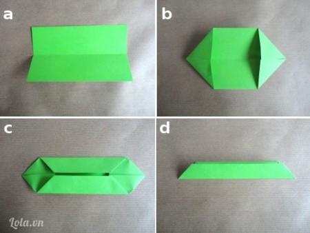 Tiếp tục đối với các hình chữ nhật màu xanh để chuẩn bị làm lá, bạn làm như  sau đây