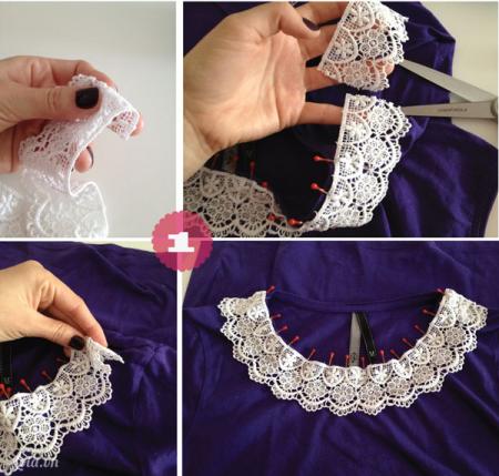 Cắt một đoạn vải ren có chiều dài kích thước băng với cổ áo của bạn . lấy kim giữ chỗ đính giữ phần trên lại