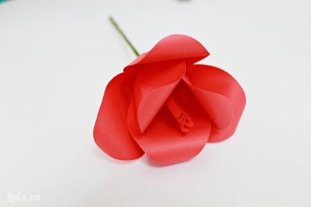 Chú ý dán các cánh hoa xen kẽ vơi nhau thì hoa tulip của chúng ta sẽ đệp hơn đó nha các bạn.