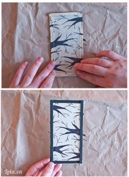 dán giấy lên trên khung