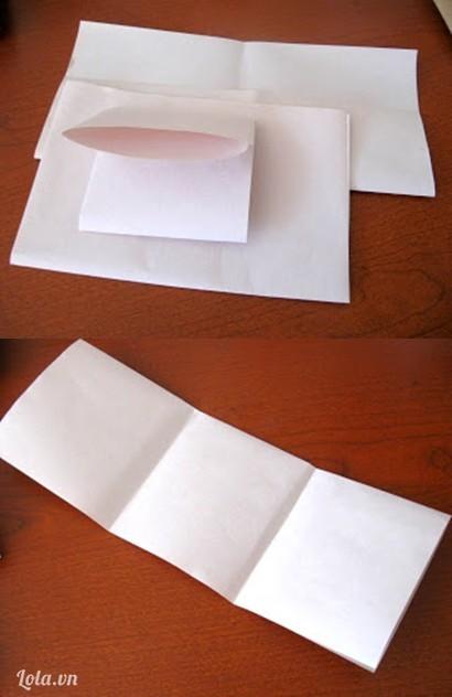 Gập đôi tờ giấy a4 rồi cắt đôi và gấp làm 3 phần