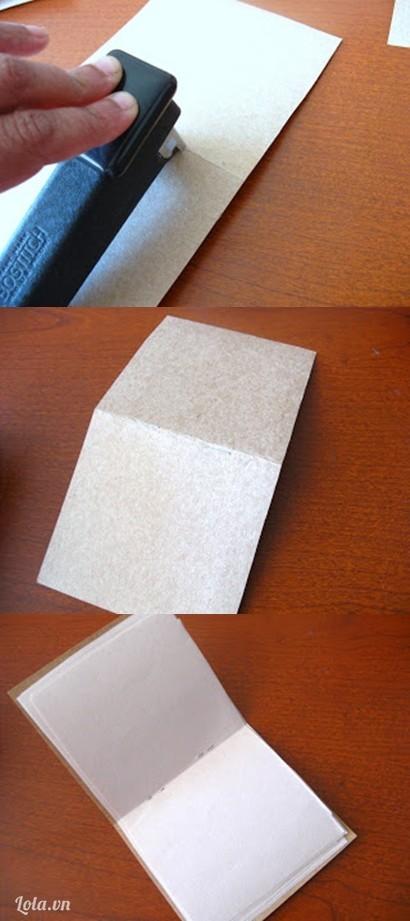Làm thêm một bìa giấy cứng sau dùng ghim kẹp giấy a4 và giấy bìa lại . Làm các quyển sổ có kích thước khác nhau