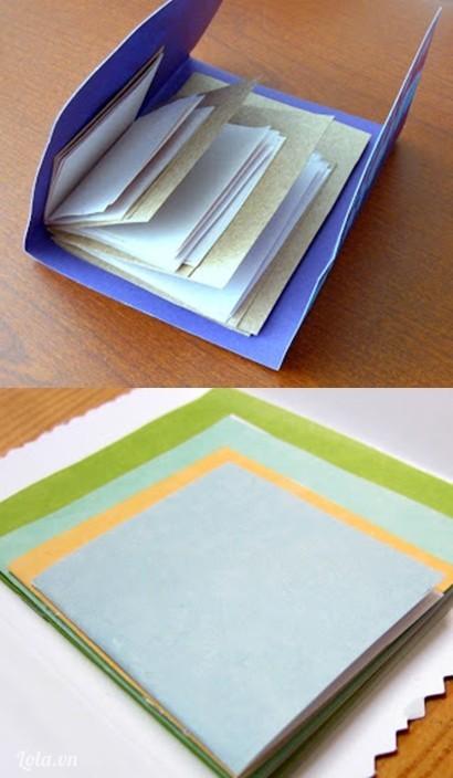 Dán keo lên mặt trong của tờ giấy bìa ở b1 sau đó dán chồng tất cả lại với nhau