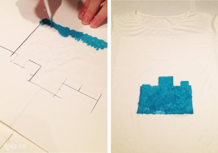 giữa chặt mép giấy và bắt đầu tô màu lên áo như hình