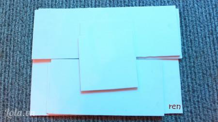 Cắt giấy mô hình thành 1 mảnh có kích thước 30x50cm, 2 mảnh kích thước 20x50cm, 2 mảnh khích thước 20x30cm và 2 mảnh kích thước 20x25cm