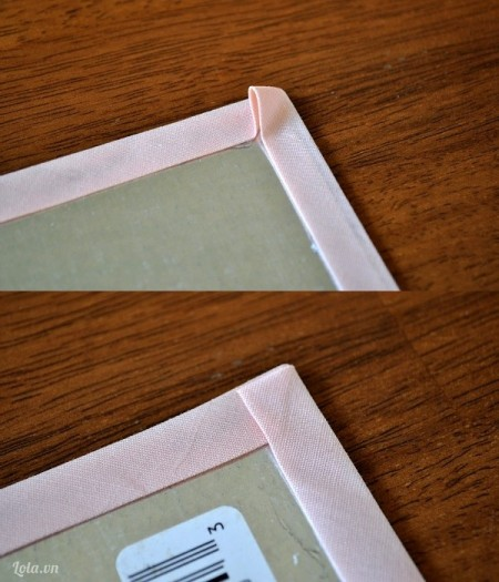 Ấn vải và dán xung quanh bìa trong giống như bức tranh và đợi khô