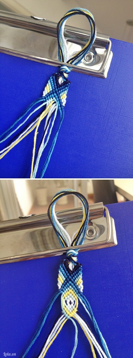 Dùng các màu chỉ tiếp theo và đan như trong hình. Chú ý tạo ra pattern mà bạn muốn bằng việc dùng màu chỉ này đan xen với màu chỉ khác, kết hợp với chiều đan khác nhau.