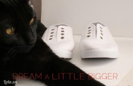Bạn chuẩn bị sẵn một đôi giày trắng, tháo bỏ dây của giày