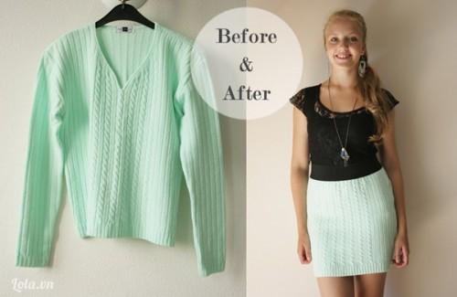 Biến chiếc áo len cũ thành chiếc váy trong tik tak