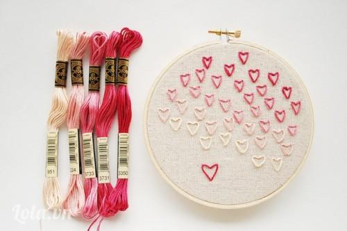 valentine - Thêu khăn trái tim làm quà tặng