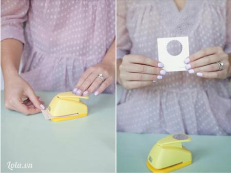 Bạn dùng đồ bấm giấy bấm thật nhiều hình trong lượn song như trong hình