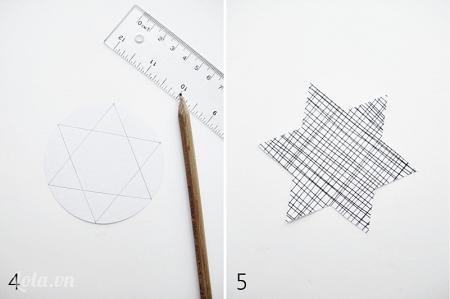 Nối các đường chấm bị lại với nhau thành hình ngôi sao như hình và cắt ra
