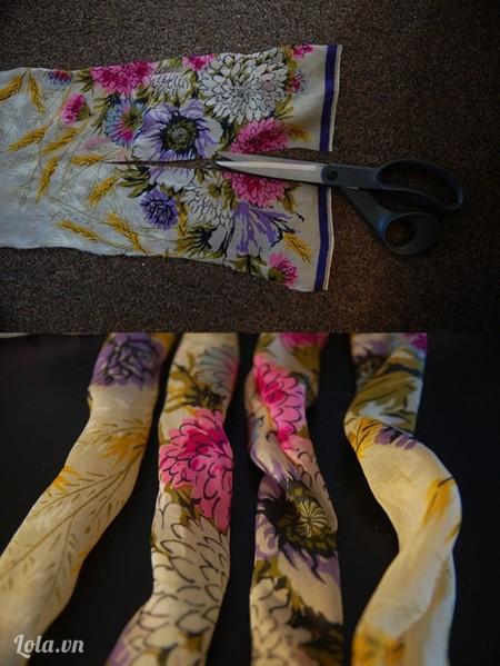 Cắt khăn ra làm đôi đều nhau