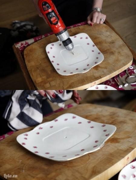 dùng máy khoan khoan lên dĩa