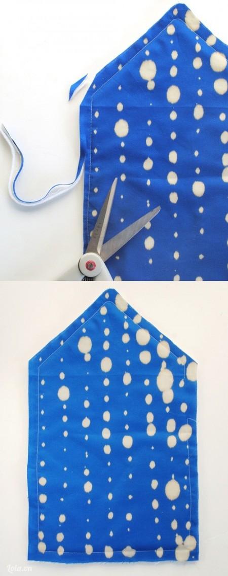 Cắt những mảnh vải còn thừa sau khi khâu . Lưu ý khi khâu bạn nên chưa một khoảng nhỏ để các miếng vải có thể thoát khi ra ngoài được với nhau.