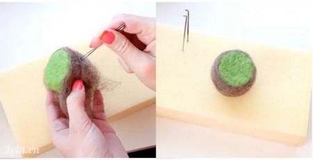 Bọc 1 lớp len màu nâu xung quanh rồi tiếp tục dùng kim chọc đều tay để làm vỏ  quả kiwi.