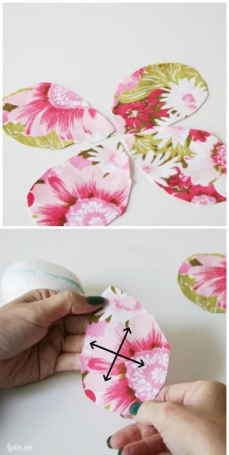 Cắt vải hình cánh hoa