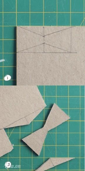 Bạn vẽ hình chiếc nơ mà mình muốn ra tấm bìa cứng và cắt như hình