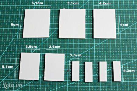 Tiếp theo các bạn cắt giấy bìa mô hình thành các mảnh với kích thước như trong hình.