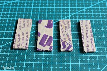 Dùng giấy bọc xung quanh các mảnh giấy mô hình số 6,7,8,9.