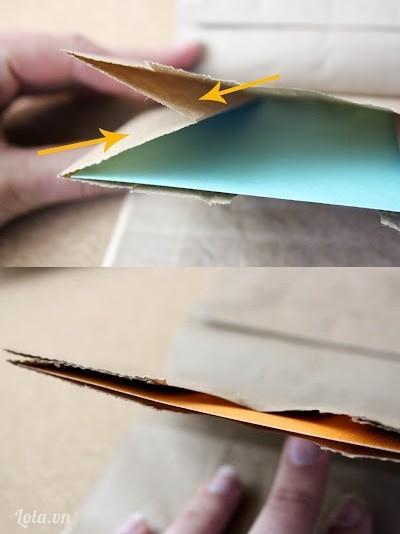 Trong mỗi túi, dán băng keo hai mặt ở vị trí đánh dấu trên hình. Thêm băng keo sẽ làm cho việc kéo giấy ra, vào dễ dàng hơn