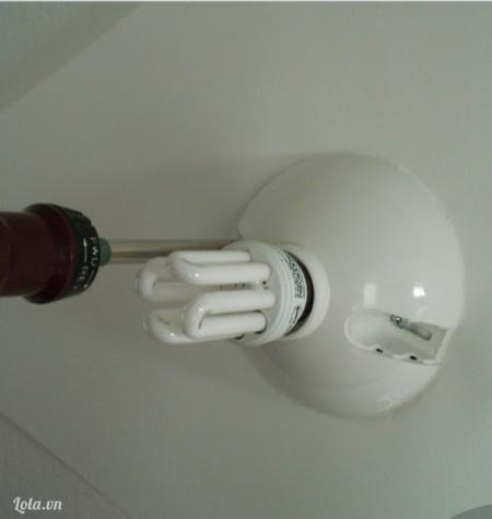 Bạn dùng tua vít cố định bóng đèn lại