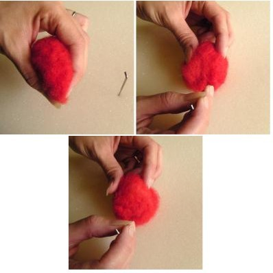 Dùng kim chọc đều để tạo độ kết dính cho len.