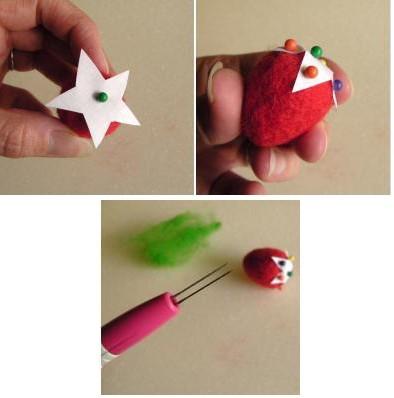 Cắt 1 miếng giấy nhỏ hình ngôi sao 5 cánh rồi dùng kim cố định để làm cuốn của quả dâu nha.