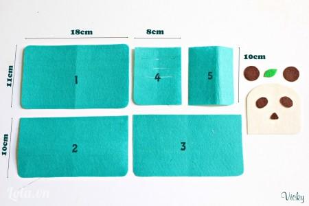 Cắt vải nỉ thành các mẫu có kích thước như hình bên nha. Các bạn có thể click vào hình để xem rõ hơn.