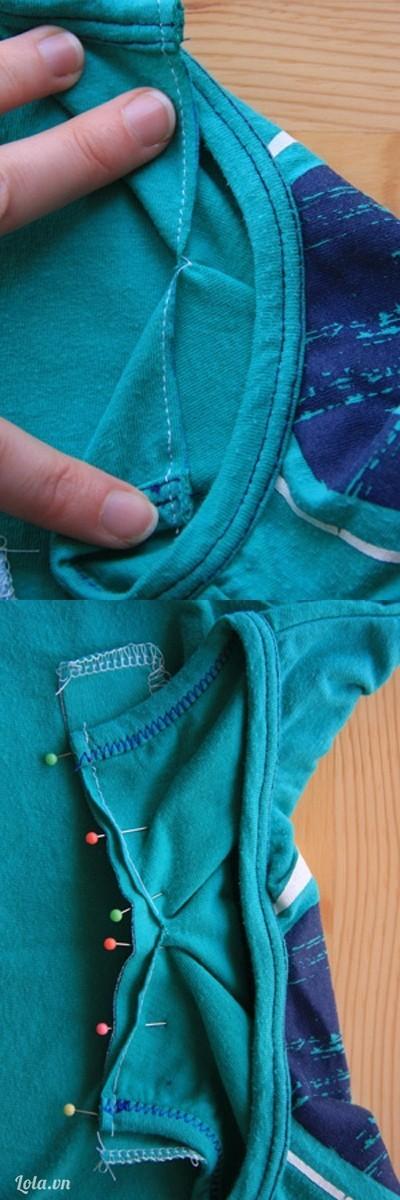 Giữ cho mối cắt được thẳng . Ghi kim dính ra mặt trước áo