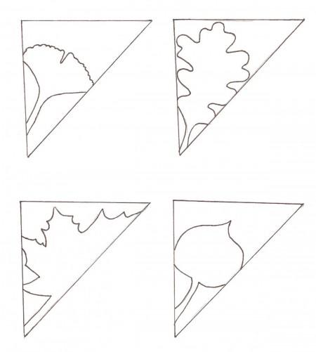 Dùng bút chì vẽ hoa văn như hình mẫu, sau đó dùng kéo cắt theo đường đã vẽ.