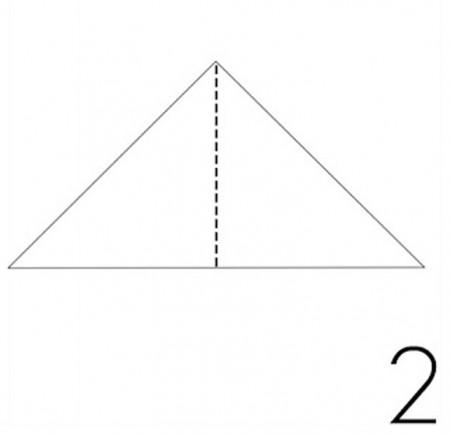 Gấp đôi theo đường kẽ như hình.