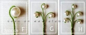 Bước 4: Làm cành hoa: - Dùng dây kẽm đã quấn giấy xanh làm cành hoa. Cành hoa dài hơn độ cao của lọ cắm nến chừng 1 – 2 cm vì chúng ta còn vặn xoắn, uốn cong nó.- Xỏ hạt cườm tròn (như hạt ngọc trai) vào đầu cành hoa, uốn cong nó xuống cho tự nhiên, đầu mút của cành hoa ta hơi vặn tròn nút lại cho hạt cườm không bị rơi ra ngoài.- Cứ 5 cành hoa như thế lại vặn xoắn chung vào làm thành một chùm hoa: Vặn ba cành làm một tại điểm cách hoa (hạt cườm) chừng 2cm, rồi vặn lùi xuống 2cm lại vặn xoắn thêm hai cành nữa vào chung với chùm, những bông hoa uốn cong đối xứng và hài hòa với nhau. Vặn phần cành còn lại xoắn cùng nhau theo một hướng, tới hết độ dài của cành hoa đầu tiên thì thôi.- Cắt phần cành còn thừa của 4 cành xoắn vào phía sau.- Làm tương tự để có thêm những chùm hoa khác. Số chùm hoa bằng một nửa số lá bạn nặn.